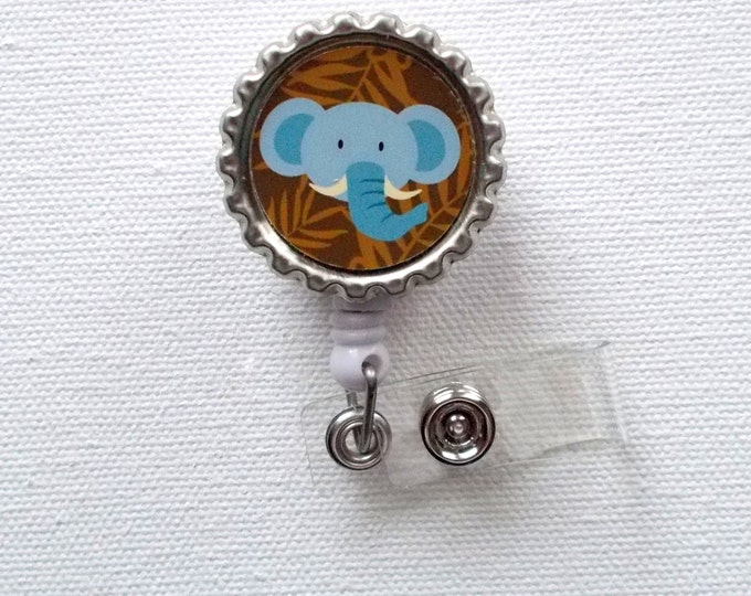 Baby Blue Elephant - Retractable Nursing Badge Reels - Nurses Badge Holder - ID Badge Reel - Nurse - Preschool Teacher Badge