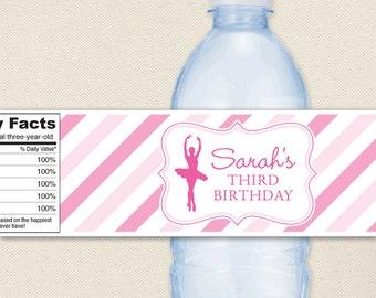 Ballet Party - 100% waterproof personalized water bottle labels