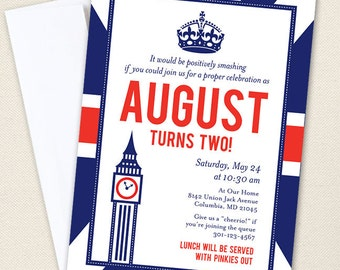 Union Jack Party Invitations - Professionally printed *or* DIY printable
