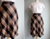 Vintage Ebony and Tan Plaid Skirt