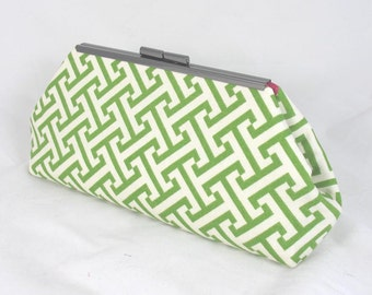 Geo Maze Clutch lined with contrast color faux silk- Purse - Bag