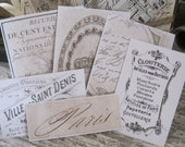 NEW french flea market assorted vintage labels peel and stick