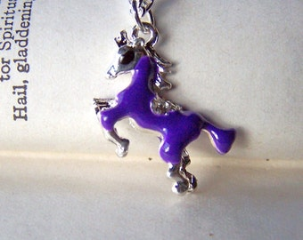 Girls Horse Necklace Purple Horse Jewelry Equine Equestrian Necklace Girls Purple Jewelry Equestrian