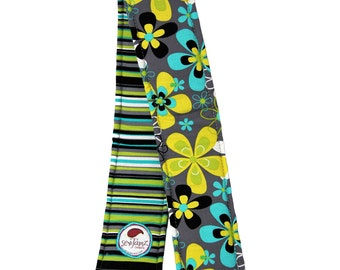 Camera Strap Cover ... REVERSIBLE ... Floral and stripes