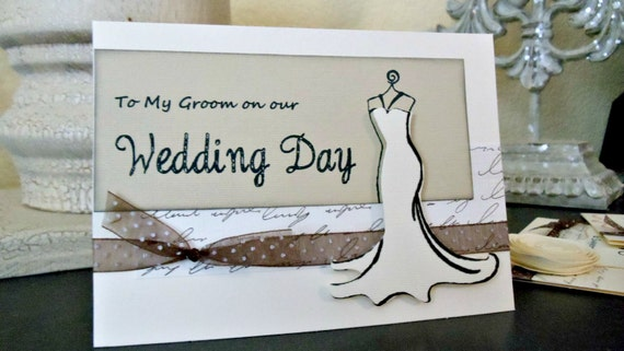To My Groom on our Wedding Day Script Style Card with Envelope.  For your Future Husband