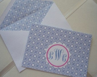 Royal Blue Geometric Print on White with Matching Lined Envelopes