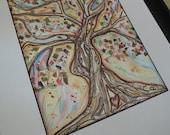 MEDITATION TREE, Tree of Life, Original Watercolor Painting, Scrapbook paper Collage Art