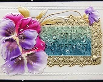 SUPERB Antique, Embossed, Birthday Pansies, Gilt, Air-Brushed German Postcard