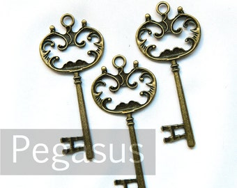 Victorian Jewelry Box skeleton key (3 Pieces) passing key pendant for bracelets, necklace, scrapbooking tags, wedding favors