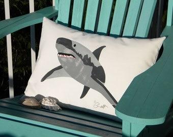 """Outdoor pillow SHARK 15"""" x 20"""" painted not Left Shark jaws teeth SCUBA attorney lawyer cartilage ocean Crabby Chris Original"""
