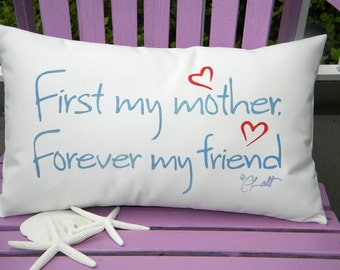 "Outdoor pillow FIRST MY MOTHER forever my friend mom gift Mothers Day blue with red hearts 12""x20"" (30x50cm)  Crabby Chris Original"