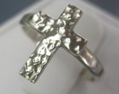 Cross Ring in Hammered Sterling Silver