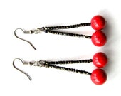 Holiday Cherries - Red Glass, Dark Glass, Bead, Spring, Summer, Earrings