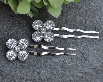 Pair of Vintage Rhinestone Button Hair Pins - Custom Requests Welcome