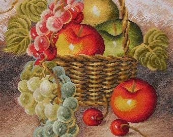 New Finished Completed Cross Stitch - Fruits III - 11CT