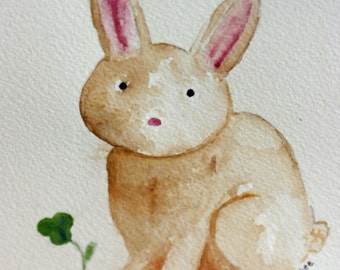 Little Brown Bunny with clover, SALE, original watercolor, simple, children's art, animal, woodsy, nature, nursery art