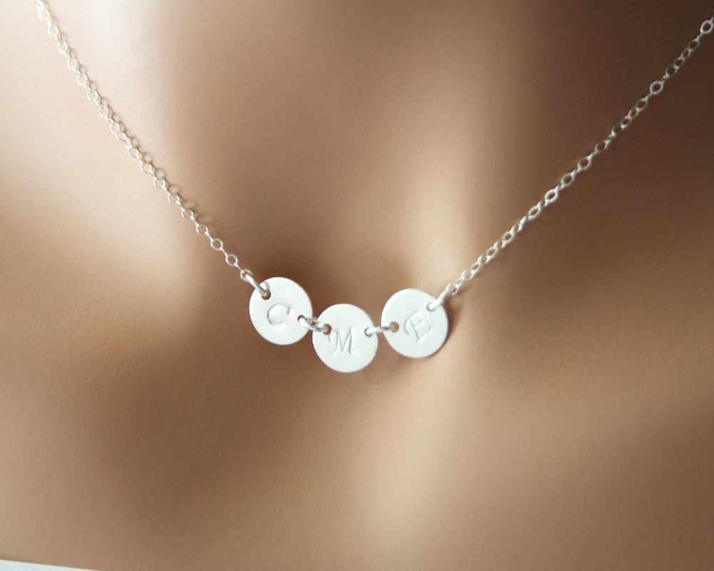 three initial disc necklace all sterling silver sideways. Black Bedroom Furniture Sets. Home Design Ideas