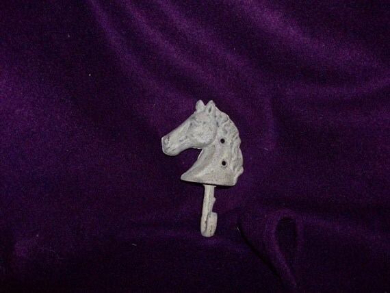 Wall hook cast iron single horse head hook Antique White or  PICK YOUR COLORS
