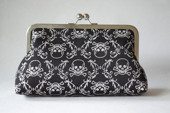 LAST Sparkly Skulls Clutch Bag Rockabilly Kisslock Purse Goth Bridesmaid Gift by Lolis Creations