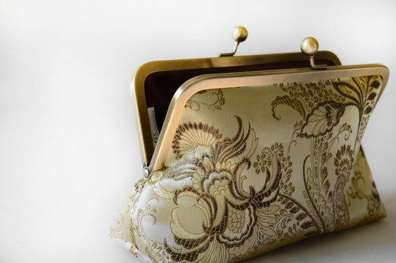 Bridesmaid Clutch Gift Idea Gold Flowers Brocade Bag Bridesmaid Gift Purse Wedding Clutch Mother of the Bridal Party Gift by Lolis Creations