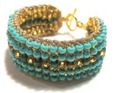 Cuff Bracelet, Turquoise, Blue Green, Peacock, SURISE GOLD, Hand Made Beaded Knit, Wearable Fiber Art Reversible, Sereba Designs, Etsy