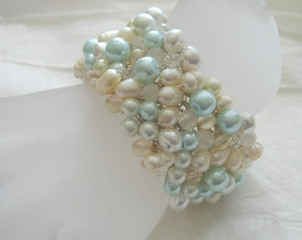 Soft Sky Blue Pearl Crystal Bridal Wedding Cuff Bracelet, Ivory, White, Hand Knit, Original, Sereba Designs Original, Etsy