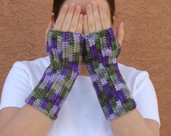 Lilac Fingerless Gloves for Women - Green and Purple Fingerless Gloves - Crochet - Crocheted Fingerless Gloves - Arm Warmers