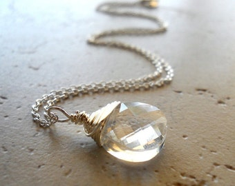 Bella Luna Necklace, Winter White Crystal Necklace White Diamond Swarovski Crystal Pendant Sterling Silver Wire Wrap Necklace Beautiful Moon