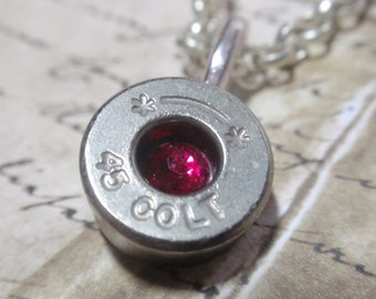 Bullet Necklace Colt 45 silver Starline with Rhinestone chaton in center Bullet Shell