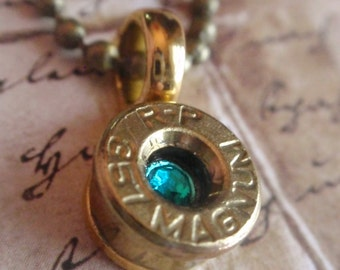 Bullet necklace 357 Magnum bullet casing with crystal
