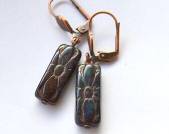 Dangle verdigris flower earrings, Copper and turquoise earrings, Czech glass earrings, Antiqued flower earrings
