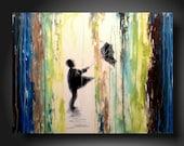 Large Art original Abstract painting ART Heavy textured  wall hanging  JMJartstudio18 X 24 Inches