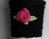 Black Bling Hot Pink Rose Heart Charm Cozy Sleeve