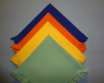 Vintage Table Napkins in Vibrant Primary Colors