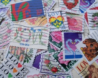 35 Love Postage Stamps, Used Stamps, Love, Hearts, Valentines, Postage stamps
