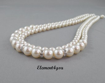 Bridal necklace, statement wedding jewelry, Pearl wedding necklace, Swarovski pearl bridal jewelry, two strands double layer cream white.