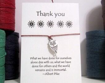 Thank You Owl Wish Bracelet