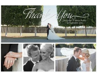 Simple 4 Photo Wedding Thank You Card