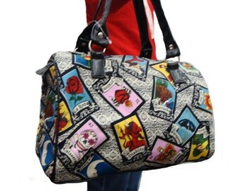 Handbag Doctor bag Satchel Loteria Latino ROCKABILLY Pattern US handmade Cotton Fabric Bag Purse, new