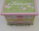 A handpainted jewelry box ,pastel colors.roses, personalized with a thank you note for a flower girl gift,personalized flower girl gift