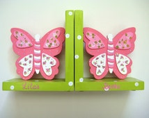 Pink and green Butterfly Bookends,polka dots and roses, kids bookends, girls bookends, children's bookends, personalized bookends for girls