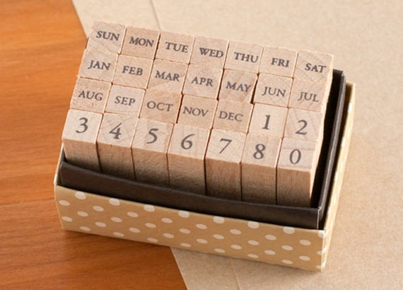 Mini Calendar Stamp Set (Garamond)