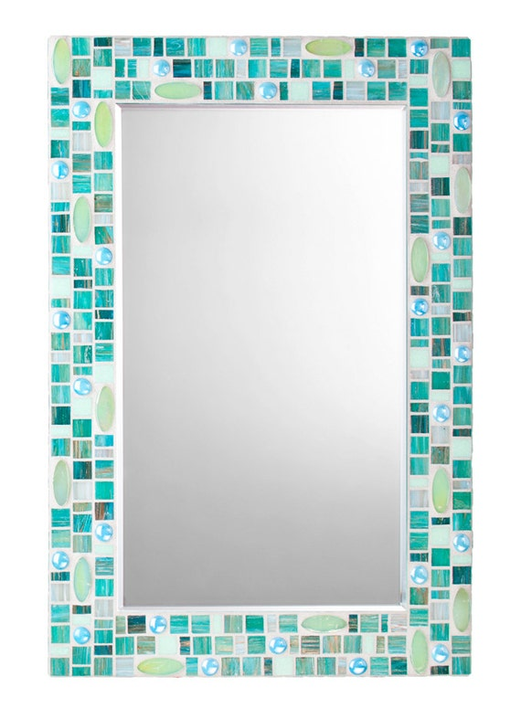 Items Similar To Wall Mirror Teal Mosaic With Light Green. Sea Glass Bathroom Mirrors   Rukinet com