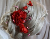 Red Cherry blossom hair clip