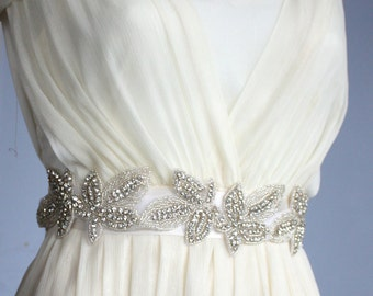 Bling Bling wedding Sash ivory with crystal rhinestone S1