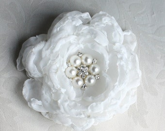 Off-White Rose Crystal Hair Flower comb / Clip wedding head Piece - Jenny