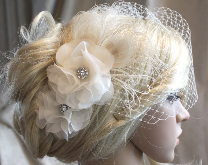 Featured listing image: Ivory Silk organza flowers hair clip and birdcage veil vail ( 2 items) wedding reception bridal party