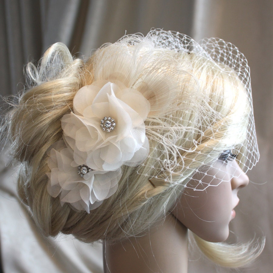 Ivory Silk Organza Flowers Hair Clip And Birdcage Veil Vail