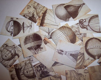 Hot Air Balloon Steampunk Square Stickers Labels Set of 24