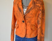 "Orange Jr. Large Denim JACKET - Orange Apricot Hand Dyed Upcycled Mossimo Denim Blazer Jacket - Adult Womens Size Jr. Large (38"" chest)"